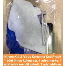 Hijyen Kiti (1 adet maske, 1 adet cep kolonya, 1 adet ıslak mendil paketi, 1 adet eldiven)